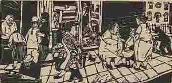 Ruth Leaf Woodcut Crowd on Sidewalk