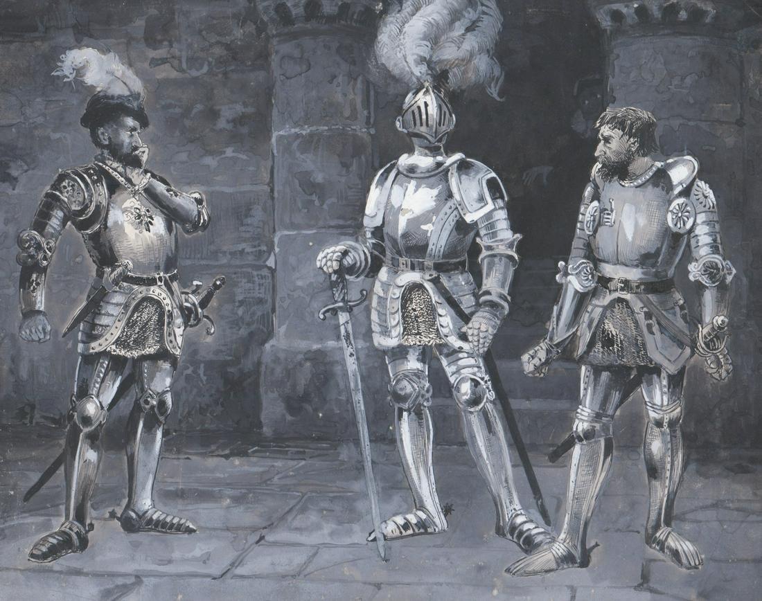 Edmund H. Garrett Original Mixed Media [Knights]