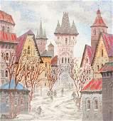 Anatol Krasnyansky Serigraph [Village Scene]