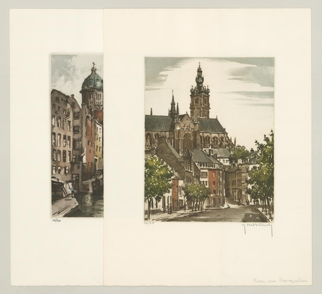 Roger Hebbelinck Colored Etchings [Architecture]