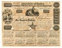 $500 Republic of Texas Bond 1840