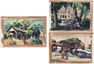 John De Vincenzi (1921-2006, CA) Watercolors