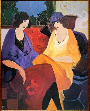 Itzchak Tarkay Hand Embellished Print on Canvas