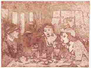 Ann Chernow Etching and Aquatint [A Small Cafe]