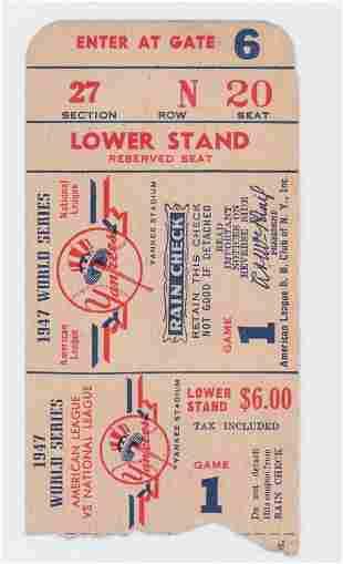 Original 1947 World Series Ticket Stub Game 1