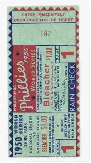 Original 1950 World Series Ticket Stub Game 1