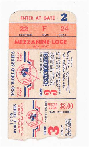 Original 1950 World Series Ticket Stub Game 3