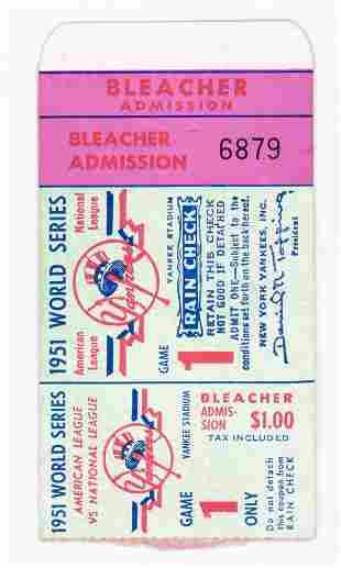Original 1951 World Series Ticket Stub Game 1