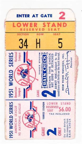 Original 1951 World Series Ticket Stub Game 2