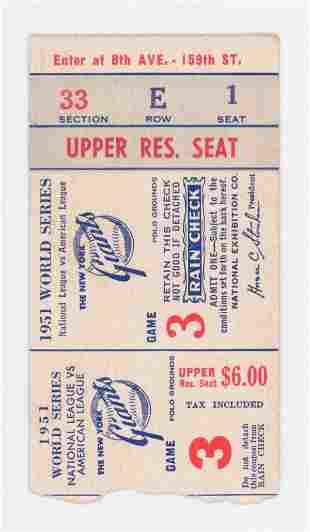 Original 1951 World Series Ticket Stub Game 3