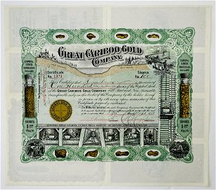 Great Cariboo Gold Company 1908 Stock Certificate