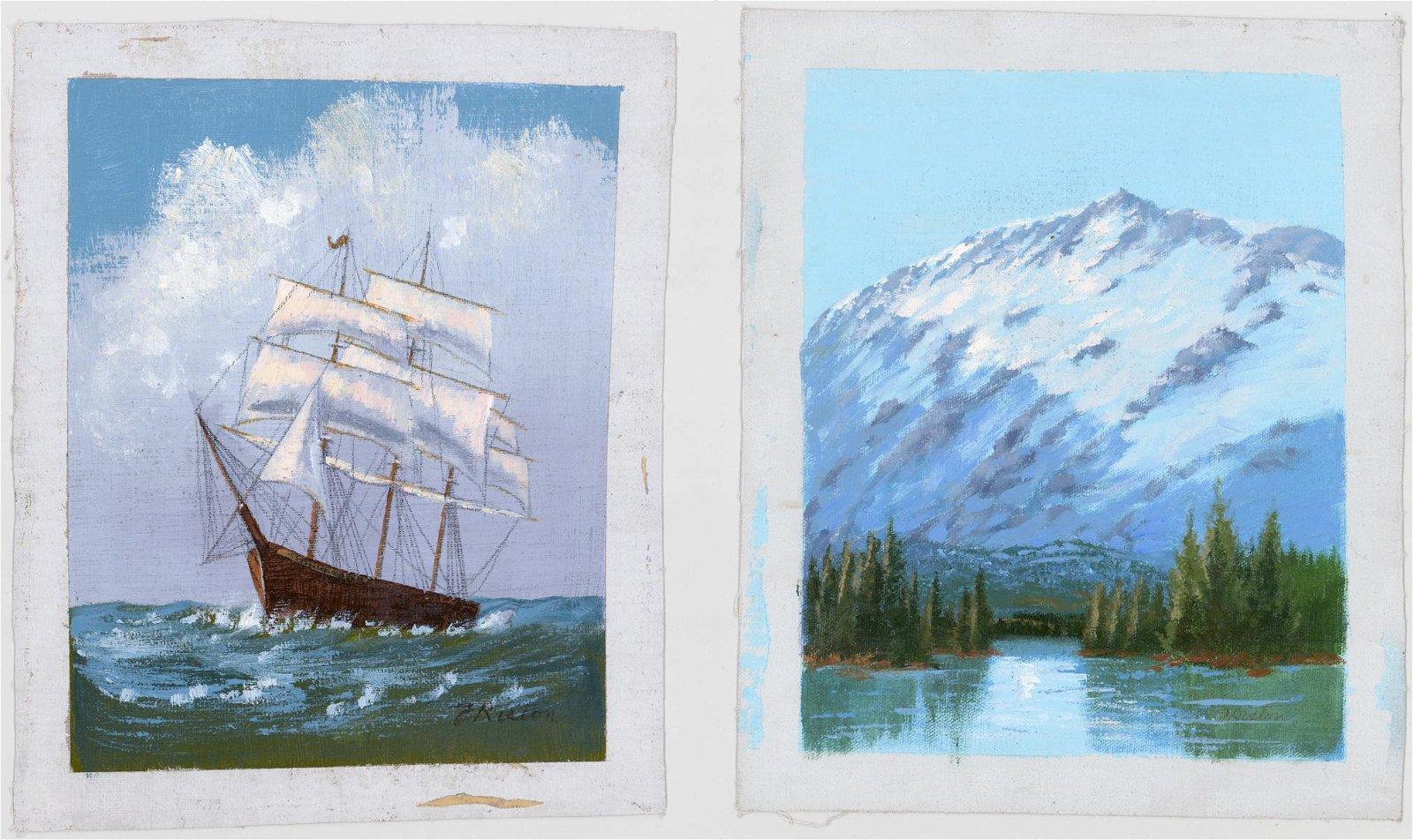J. Riston Oils on Canvas [Mountain, Ship]