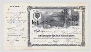 Mt. Tamalpais and Muir Woods Stock Cert