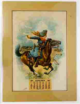 Wild West Cowgirl Antique Lithograph