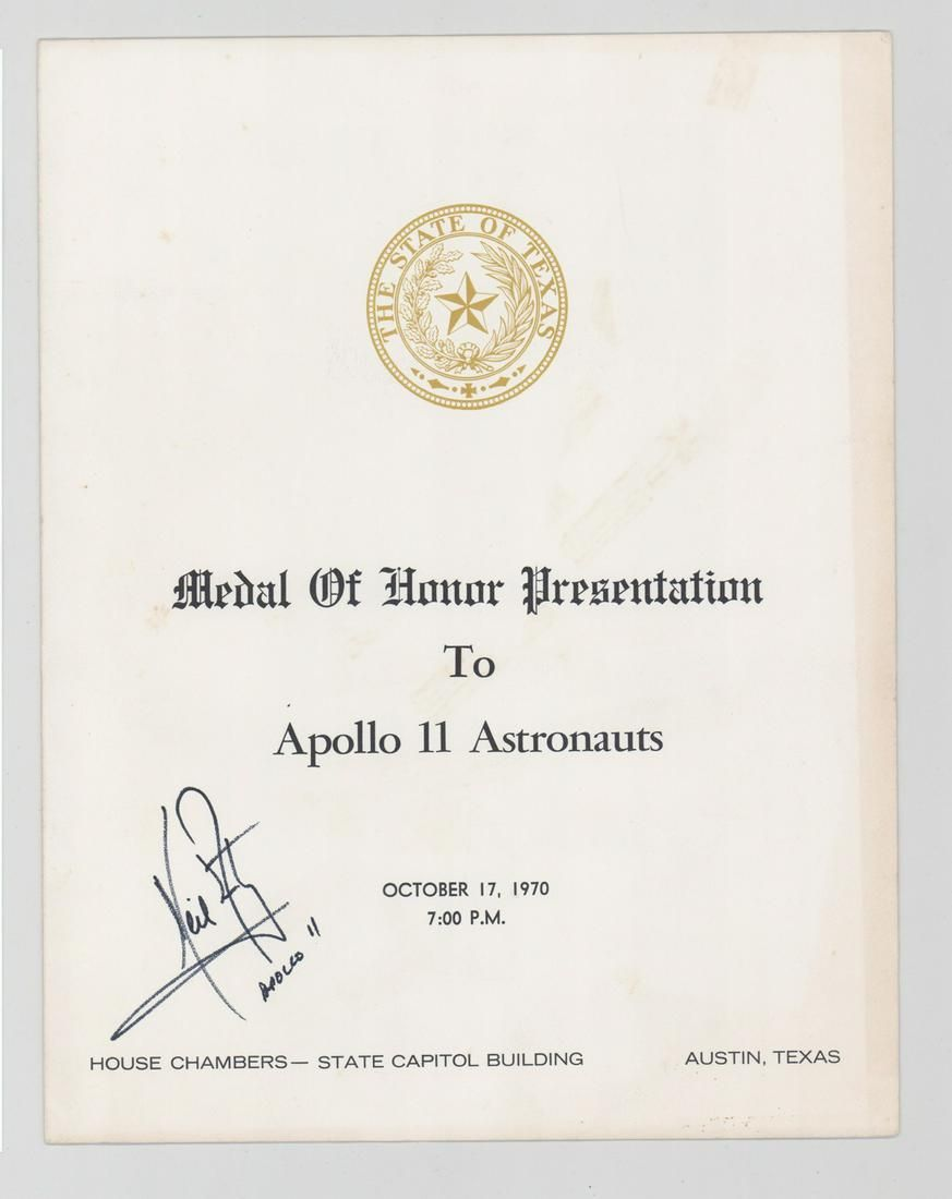 Neil Armstrong Signed Medal of Honor Program