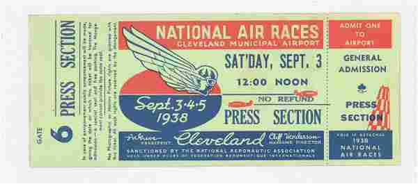 RARE 1938 National Air Races Full Ticket