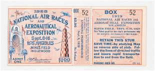 RARE 1928 National Air Races Los Angeles Ticket