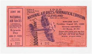 1929 National Air Races Full Ticket