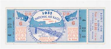 1932 National Air Races RARE Full Ticket
