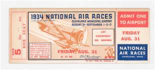 1934 National Air Races RARE Full Ticket