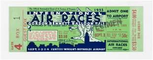 1933 Gordon Bennett Balloon Race Full Ticket