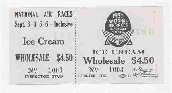 1937 National Air Races Ice Cream Full Ticket