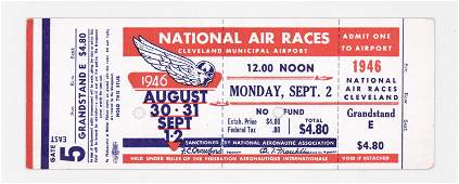 RARE 1946 National Air Races Full Ticket