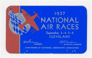 1937 National Air Races Cleveland RARE Pass