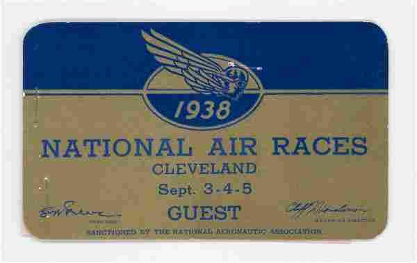 1938 National Air Races RARE Guest Pass
