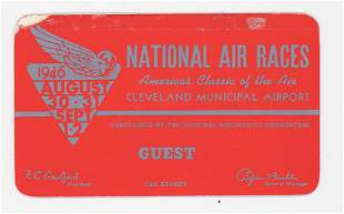 1946 National Air Races RARE Guest Pass