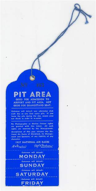 1937 National Air Races Cleveland RARE Pit Pass