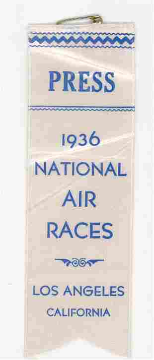 1936 National Air Races Los Angeles Press Pass