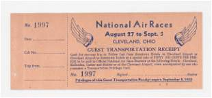 1932 National Air Races Transportation Ticket