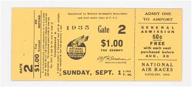 1935 National Air Races Cleveland Full Ticket
