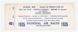 1935 National Air Races Patron Box Full Ticket