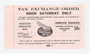 1938 National Air Races Tax Exchange Order