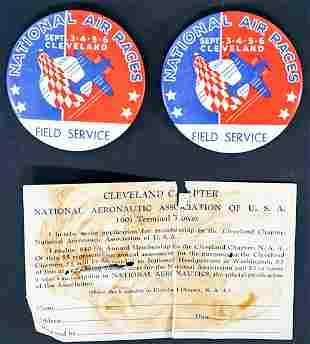 Two 1938 National Air Races Field Service Pinbacks