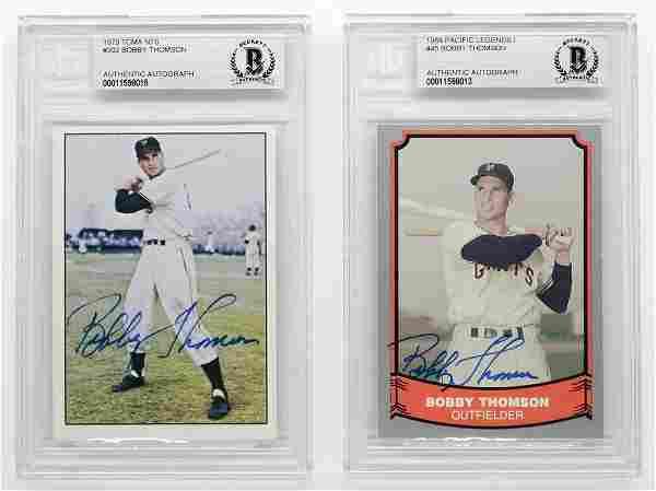 Bobby Thomson Autographed Baseball Cards 2