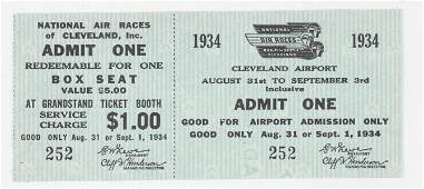 1934 National Air Races Cleveland Full Ticket
