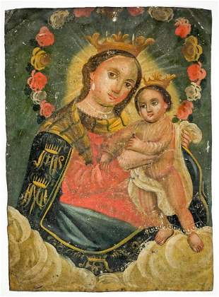 Antique Painting on Tin [Mother and Child]