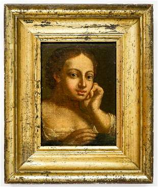 18th -19th Century Oil on Panel Framed [Woman]