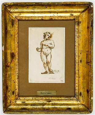 Pietro Liberi Original Drawing Framed