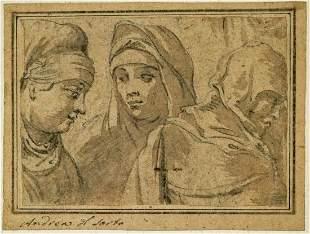 Andrea del Sarto Original Drawing [Women]