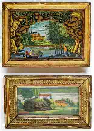 18th - 19th Century French Beadwork Framed (2)
