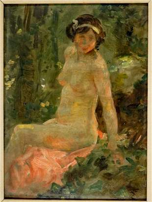 French Impressionist Oil on Board Framed [Nude]