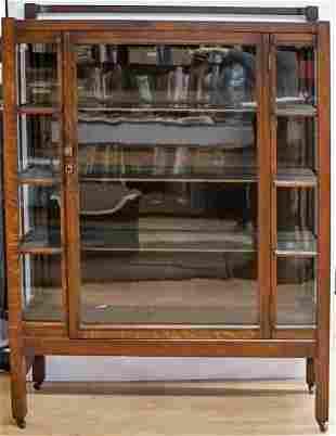 Arts and Crafts Oak China Cabinet