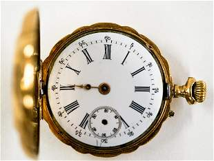 Ladies 14k Pocket Watch 10J and Locket