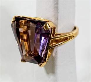 14k Ladies Gold Ring w/ Large Amethyst Stone