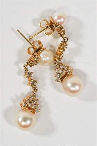 Ladies 14k Gold and Pearl Earrings