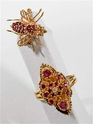 Diamonds and Rubies 14k Gold Ring, 10k Gold Pin